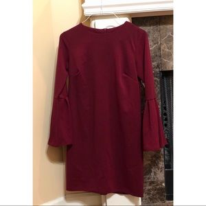 Burgundy Bell Sleeve Shift Dress